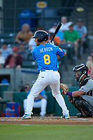 Jimmy Herron (8) of the Myrtle Beach Pelicans at bat against the Winston-Salem Dash at TicketReturn.com Field on May 16, 2019 in Myrtle Beach, South Carolina. The Dash defeated the Pelicans 6-0. (Brian Westerholt/Four Seam Images)