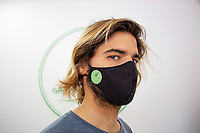 LISBON, PORTUGAL - APRIL 20: A person wearing a protective face mask poses for a portrait  inside a CBD shop in Lisbon, on April 20, 2021.First cannabis-based substance for medicinal purposes approved, The National Authority for Medicines and Health Products (Infarmed) has approved the first substance based on the cannabis plant for medicinal purposes in Portugal. (Photo by Luis Boza/VIEWpress)