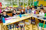 Oisin McKenna, Olivia Laide, Sarah Leonard, Euan McGovern, Evan Sheehy with their teacher Fiona Ryle enjoying their first day at Flemby NS on Thursday.