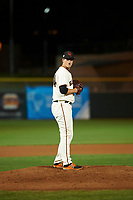 Scottsdale Scorpions relief pitcher DJ Snelten (64), of the San Francisco Giants organization, prepares to deliver a pitch to the plate during an Arizona Fall League game against the Peoria Javelinas on October 20, 2017 at Scottsdale Stadium in Scottsdale, Arizona. the Javelinas defeated the Scorpions 2-0. (Zachary Lucy/Four Seam Images)