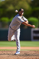 Mesa Solar Sox pitcher John Stilson (40), of the Toronto Blue Jays organization, during a game against the Glendale Desert Dogs on October 20, 2016 at Camelback Ranch in Glendale, Arizona.  Glendale defeated Mesa 3-2.  (Mike Janes/Four Seam Images)