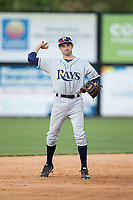 Princeton Rays shortstop Zach Rutherford (10) on defense against the Danville Braves at American Legion Post 325 Field on June 25, 2017 in Danville, Virginia.  The Braves walked-off the Rays 7-6 in 11 innings.  (Brian Westerholt/Four Seam Images)