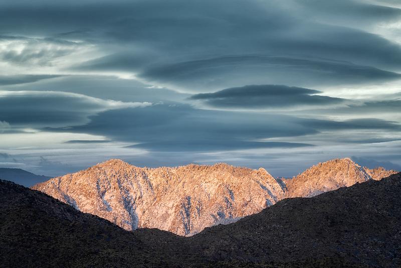 Snow on San Jacinto Mountains  at sunrise. Palm Springs, California