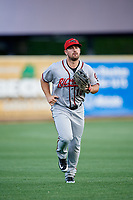 Richmond Flying Squirrels left fielder Dylan Davis (10) jogs off the field during a game against the Altoona Curve on May 15, 2018 at Peoples Natural Gas Field in Altoona, Pennsylvania.  Altoona defeated Richmond 5-1.  (Mike Janes/Four Seam Images)