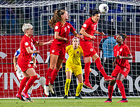 CARSON, CA - FEBRUARY 07: Stephanie Labbe #1  watches Christine Sinclair #12 of Canada clear the ball during a game between Canada and Costa Rica at Dignity Health Sports Park on February 07, 2020 in Carson, California.