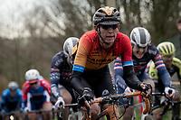 Dylan Theuns (BEL/Bahrein-McLaren) up the Molenberg<br /> <br /> 75th Omloop Het Nieuwsblad 2020 (1.UWT)<br /> Gent to Ninove (BEL): 200km<br /> <br /> ©kramon