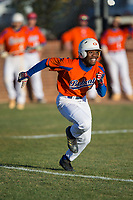 Kier Meredith (2) of the Glenn Bobcats hustles down the first base line against the Mallard Creek Mavericks at Dale Ijames Stadium on March 22, 2017 in Kernersville, North Carolina.  The Bobcats defeated the Mavericks 12-2 in 5 innings.  (Brian Westerholt/Four Seam Images)
