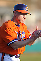 Clemson Tigers Head Coach Jack Leggett during the opener of the 2011 season against the Eastern Michigan Eagles at Doug Kingsmore Stadium, Clemson, SC. Clemson won 14-3. Photo By Tony Farlow/Four Seam Images.
