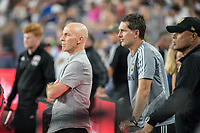 FOXBOROUGH, MA - AUGUST 4: Bob Bradley of Los Angeles FC and Ante Razof of Los Angeles FC on the sideline during a game between Los Angeles FC and New England Revolution at Gillette Stadium on August 3, 2019 in Foxborough, Massachusetts.