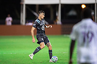 LAKE BUENA VISTA, FL - AUGUST 06: Jose Aja #4 of Minnesota United FC kicks the ball during a game between Orlando City SC and Minnesota United FC at ESPN Wide World of Sports on August 06, 2020 in Lake Buena Vista, Florida.