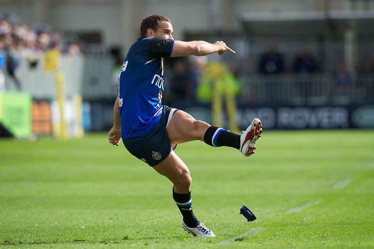 Olly Barkley of Bath Rugby takes a penalty kick during the Aviva Premiership match between Bath Rugby and Sale Sharks at the Recreation Ground on Saturday 29th September 2012 (Photo by Rob Munro)