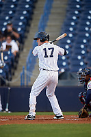 Tampa Yankees left fielder Trey Amburgey (17) at bat during a game against the Fort Myers Miracle on April 12, 2017 at George M. Steinbrenner Field in Tampa, Florida.  Tampa defeated Fort Myers 3-2.  (Mike Janes/Four Seam Images)