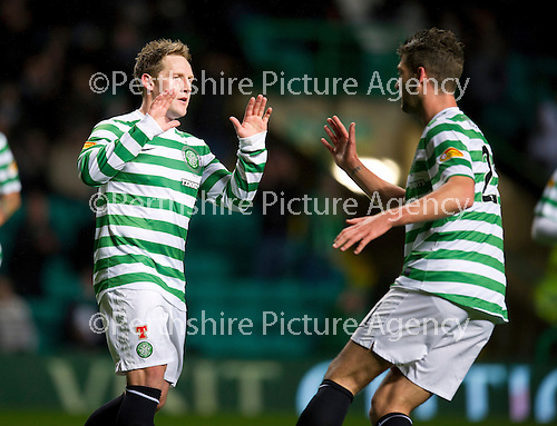 Celtic v St Johnstone...30.10.12      Scottish Communities Cup.Kris Commons celebrates his goal with Charlie Mulgrew.Picture by Graeme Hart..Copyright Perthshire Picture Agency.Tel: 01738 623350  Mobile: 07990 594431