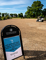 General view outside showing signs providing vital safety and social distancing measures. Covid-19 Golf phased exit at Hever Castle Golf club, Edenbridge, England on 17 May 2020. Photo by Liam McAvoy.<br /> <br /> Hever Castle Golf club opened its golf course on May 13, 2020 in Edenbridge, Kent.<br /> Golf courses reopen in England under government guidelines after Prime Minister Boris Johnson announced the general contours of a phased exit from the current lockdown.