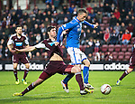 Hearts v St Johnstone....02.11.13     SPFL<br /> Gary McDonald is tackled by Dylan McGowan<br /> Picture by Graeme Hart.<br /> Copyright Perthshire Picture Agency<br /> Tel: 01738 623350  Mobile: 07990 594431