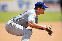 Midland RockHounds third baseman Ryon Healy (25) on defense during the Texas League baseball game against the San Antonio Missions on June 28, 2015 at Nelson Wolff Stadium in San Antonio, Texas. The Missions defeated the RockHounds 7-2. (Andrew Woolley/Four Seam Images)