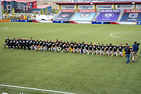 HERRIMAN, UT - JUNE 30: Utah Royals FC national anthem during a game between Utah Royals FC and Houston Dash at Zions Bank Stadium on June 30, 2020 in Herriman, Utah.
