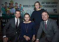 Rotterdam, Netherlands, Januari 12, 2017, ABNAMROWTT pressconference, Ltr:  tournament director Richard Krajicek,  wheelchair tournament director Esther Vergeer, Ahoy director Jolanda Janssen and manager brand sponsoring and foundation from the ABNAMRO bank Ernst Broekhorts<br /> Photo: Tennisimages/Henk Koster