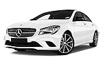 Stock pictures of low aggressive front three quarter view of 2016 Mercedes Benz CLA - 4 Door Sedan Low Aggressive