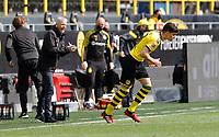 16th May 2020, Signal Iduna Park, Dortmund, Germany; Bundesliga football, Borussia Dortmund versus FC Schalke;  BVB Trainer ucien Favre  sends on Leonardo Balerdi