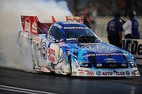 Oct. 31, 2008; Las Vegas, NV, USA: NHRA funny car driver Robert Hight does a burnout during qualifying for the Las Vegas Nationals at The Strip in Las Vegas. Mandatory Credit: Mark J. Rebilas-