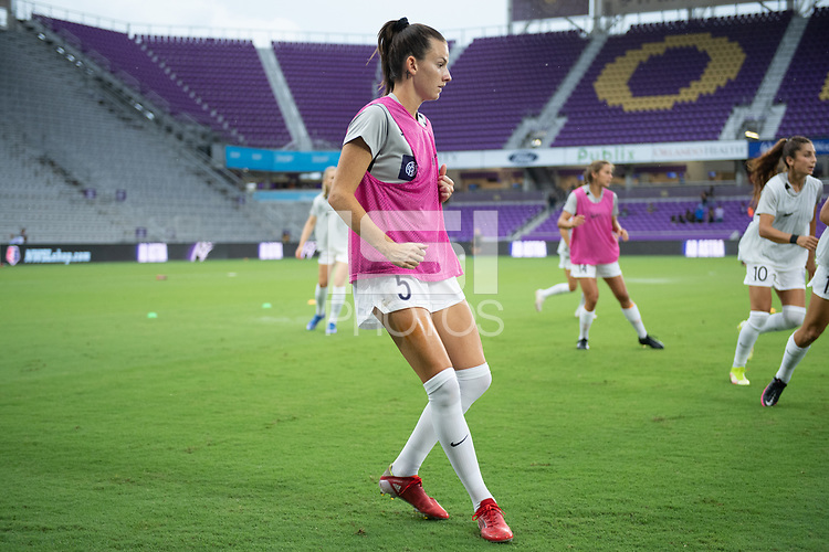ORLANDO, FL - SEPTEMBER 11: Cece Kizer #5 of Racing Louisville FC warming up before a game between Racing Louisville FC and Orlando Pride at Exploria Stadium on September 11, 2021 in Orlando, Florida.