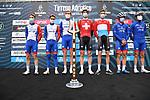 Groupama-FDJ at sign on before the start of Stage 2 of Tirreno-Adriatico Eolo 2021, running 202km from Camaiore to Chiusdino, Italy. 11th March 2021. <br /> Photo: LaPresse/Gian Mattia D'Alberto | Cyclefile<br /> <br /> All photos usage must carry mandatory copyright credit (© Cyclefile | LaPresse/Gian Mattia D'Alberto)