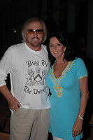 MIAMI BEACH; FL; SEPTEMBER 07: Legend singer Barry Gibb celebrates his 59th birthday with his wife Linda and family at the Lucky Strike Lanes on Lincoln Road in South Beach