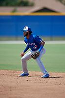 Toronto Blue Jays second baseman Hugo Cardona (2) during an Instructional League game against the Philadelphia Phillies on September 27, 2019 at Englebert Complex in Dunedin, Florida.  (Mike Janes/Four Seam Images)