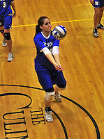 14 October 2012: Yeshiva University Maccabee Samantha Selesny, a Senior from W. Hempstead, NY, in action against the Culinary Institute Steels at Culinary Institute of America in Hyde Park, NY. The Steels defeated the Maccabees 3-0 in NCAA women's volleyball play. Mandatory Credit: Ed Wolfstein Photo