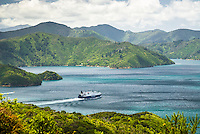 Bluebridge ferry in Queen Charlotte Sound leaving Picton, Marlborough, New Zealand, NZ