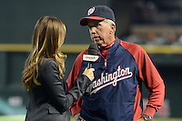 Washington Nationals manager Davey Johnson (5) gives a post game interview after managing his last game, announcing his retirement, against the Arizona Diamondbacks at Chase Field on September 29, 2013 in Phoenix, Arizona.  Arizona defeated Washington 3-2.  (Mike Janes/Four Seam Images)