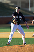 Wake Forest Demon Deacons starting pitcher John McLeod (17) in action against the Missouri Tigers at Wake Forest Baseball Park on February 22, 2014 in Winston-Salem, North Carolina.  The Demon Deacons defeated the Tigers 1-0.  (Brian Westerholt/Four Seam Images)
