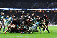 Dylan Hartley of England is stopped short of the tryline by Ramiro Moyano of Argentina during the Old Mutual Wealth Series match between England and Argentina at Twickenham Stadium on Saturday 11th November 2017 (Photo by Rob Munro/Stewart Communications)