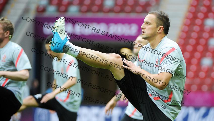 11.06.2012 WARSZAWA (WARSAW POLAND) STADION NARODOWY (NATIONAL STADIUM).PILKA NOZNA (FOOTBALL) UEFA EURO 2012 POLAND UKRAINE MISTRZOSTWA EUROPY W PILCE NOZNEJ POLSKA UKRAINA TRENING REPREZENTACJI POLSKI DZIEN PRZEDM MECZEM Z ROSJA (POLAND NATIONAL FOOTBALL TEAM TRAINING IN WARSAW).N/Z DARIUSZ DUDKA.FOTO NORBERT BARCZYK / PRESSFOCUS/NEWSPIX.PL.---.Newspix.pl