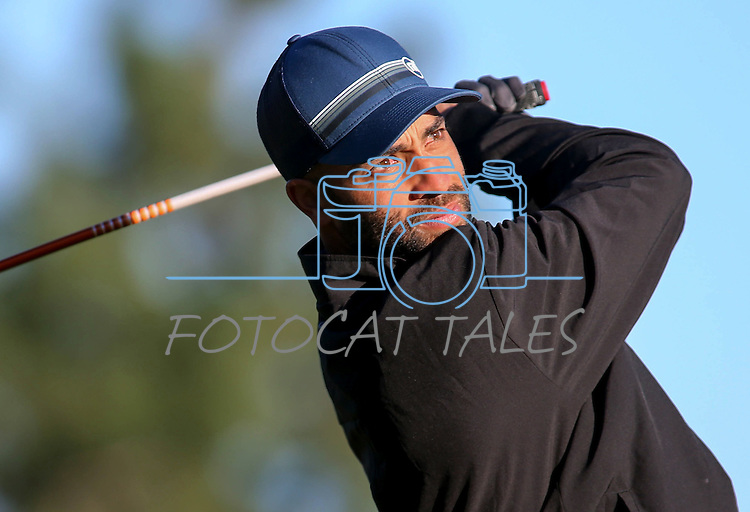 Professional tennis player James Blake watches a tee shot in the final round of the American Century Championship at Edgewood Tahoe Golf Course in Stateline, Nev., on Sunday, July 19, 2015. <br /> Photo by Cathleen Allison