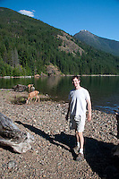 Joe and the Deer at Lightening Creek Beach, Ross Lake National Recreation Area, North Cascades National Park, Washington, US