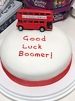 BNPS.co.uk (01202 558833)<br /> Pic: PennyIbbott/BNPS<br /> <br /> Pictured: A cake with the message 'Good Luck Boomer'.<br /> <br /> Second time lucky...<br /> <br /> An intrepid pensioner has restarted her mission to travel around England on her free bus pass for charity 18 months after she had to cancel due to Covid.<br /> <br /> Grandmother Penny Ibbott was 16 days into her journey in March last year when Boris Johnson announced that people should stop any non-essential travel as the pandemic hit.<br /> <br /> The 75-year-old was devastated to call it off after months of planning, but has not let it beat her and has now set off to do the whole route again.