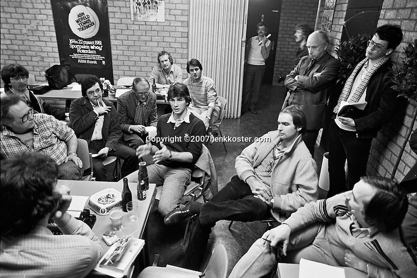 Netherlands, Rotterdam, Ahoy, March 1981, ABN WCT, Press conferance with Eric Wilborts (NED) (M)