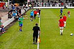 Salford City 2 FC United of Manchester 1, 15/07/2017. Moor Lane, Pre Season Friendly. A Salford sub questions a linesmans decision. Salford City v FC United of Manchester in a pre season friendly at Moor Lane Salford. Photo by Paul Thompson.
