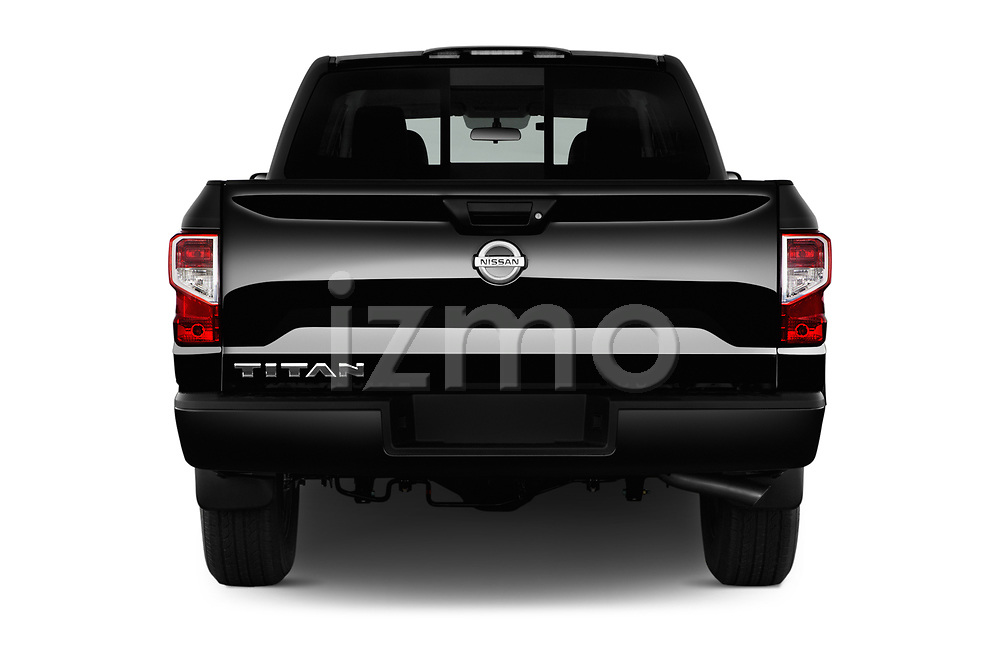 Straight rear view of 2017 Nissan Titan S-Crew 4 Door Pickup Rear View  stock images