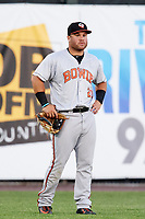 Bowie Baysox left fielder D.J. Stewart (22) during a game against the Harrisburg Senators on May 16, 2017 at FNB Field in Harrisburg, Pennsylvania.  Bowie defeated Harrisburg 6-4.  (Mike Janes/Four Seam Images)