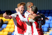 Barrie McKay celebrates scoring Fleetwood's opening goal with Kyle Vassell and Callum Camps during AFC Wimbledon vs Fleetwood Town, Sky Bet EFL League 1 Football at Plough Lane on 5th April 2021