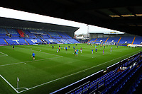 A view of teams warming up during the Sky Bet League 2 match between Tranmere Rovers and Scunthorpe United at Prenton Park, Birkenhead, England on 3 October 2020. Photo by Chris Donnelly/MI News /PRiME Media Images