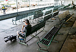 A TV cameraman waits for the day to start in an empty grandstand before the 152nd running of Belmont Stakes at Belmont race track in Elmont, New York, USA, 20 June 2020. The Belmont is being run without fans due to coronavirus SARS-CoV-2 which causes the Covid-19 disease and while it has always been the third leg of the Triple Crown, due to Covid-19 it is, instead the first leg in 2020.