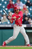 Nebraska Cornhuskers shortstop Steven Reveles (5) swings the bat during Houston College Classic against the Texas A&M Aggies on March 6, 2015 at Minute Maid Park in Houston, Texas. Texas A&M defeated Nebraska 2-1. (Andrew Woolley/Four Seam Images)