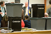 Ballot boxes stacked at the count for two Camden constituencies in the General Election and for the Camden Council local government election 2010.