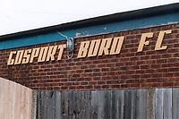 Signage at Gosport Borough FC, Privett Park, Gosport, Hampshire, pictured on 21st February 1988