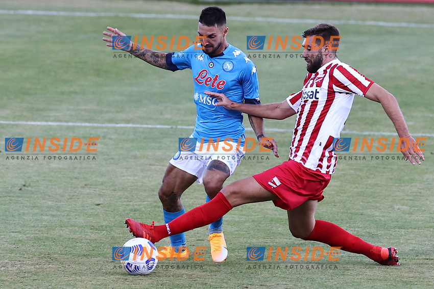 Matteo Politano of SSC Napoli compete for the ball<br /> during the friendly football match between SSC Napoli and SS Teramo Calcio 1913 at stadio Patini in Castel di Sangro, Italy, September 04, 2020. <br /> Photo Cesare Purini / Insidefoto
