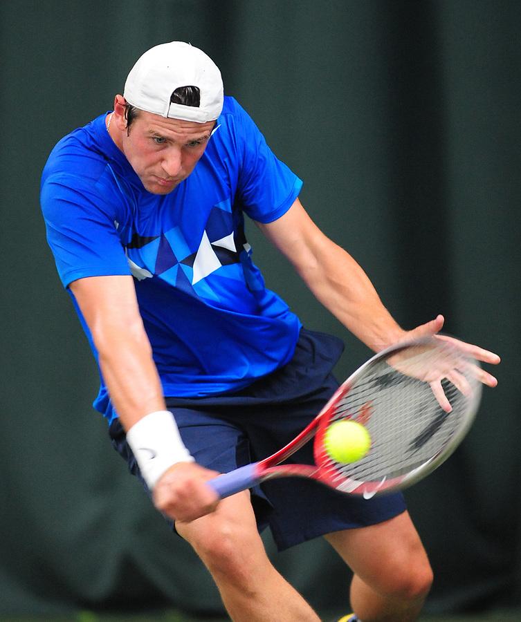 Sergei Bubka UKR in action during his defeat by Lukas Lacko SVK (2) in their Men's Singles 2nd Round match ñ Lukas Lacko SVK def Sergei Bubka UKR 7-6(4) 6-3<br /> <br /> Tennis - AEGON Trophy - ATP Challenger Tour - Friday 8th June 2012 - Nottingham Tennis Centre - Nottingham<br /> <br /> © CameraSport - 43 Linden Ave. Countesthorpe. Leicester. England. LE8 5PG - Tel: +44 (0) 116 277 4147 - admin@camerasport.com - www.camerasport.com
